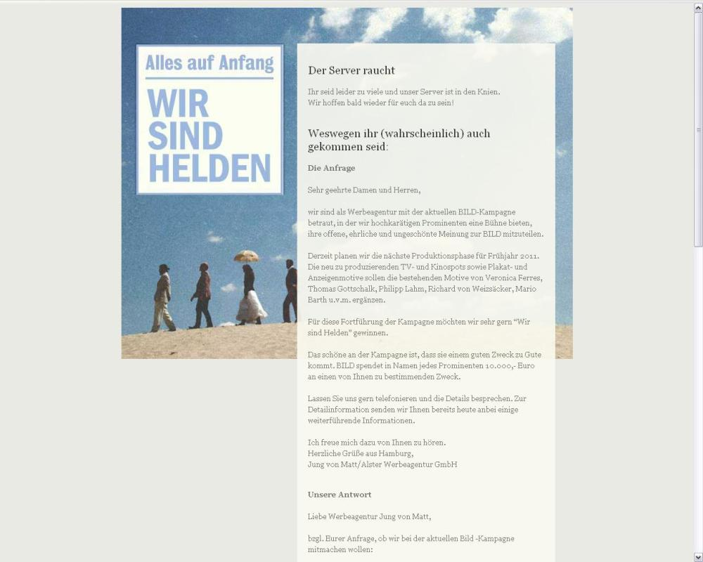 Screenshot der Internetseite  www.wirsindhelden.de