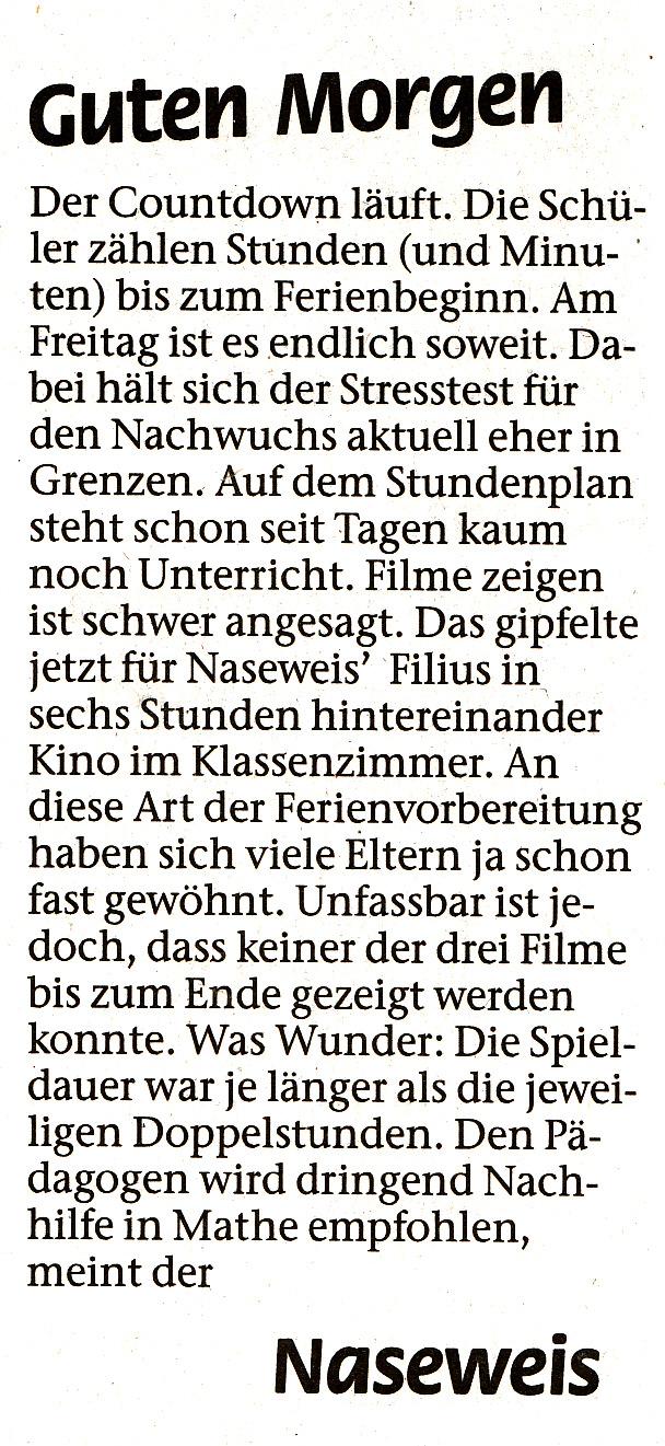 Zeitungsausschnitt aus der Aachener Zeitung vom 22.07.2011 / Nordkreis